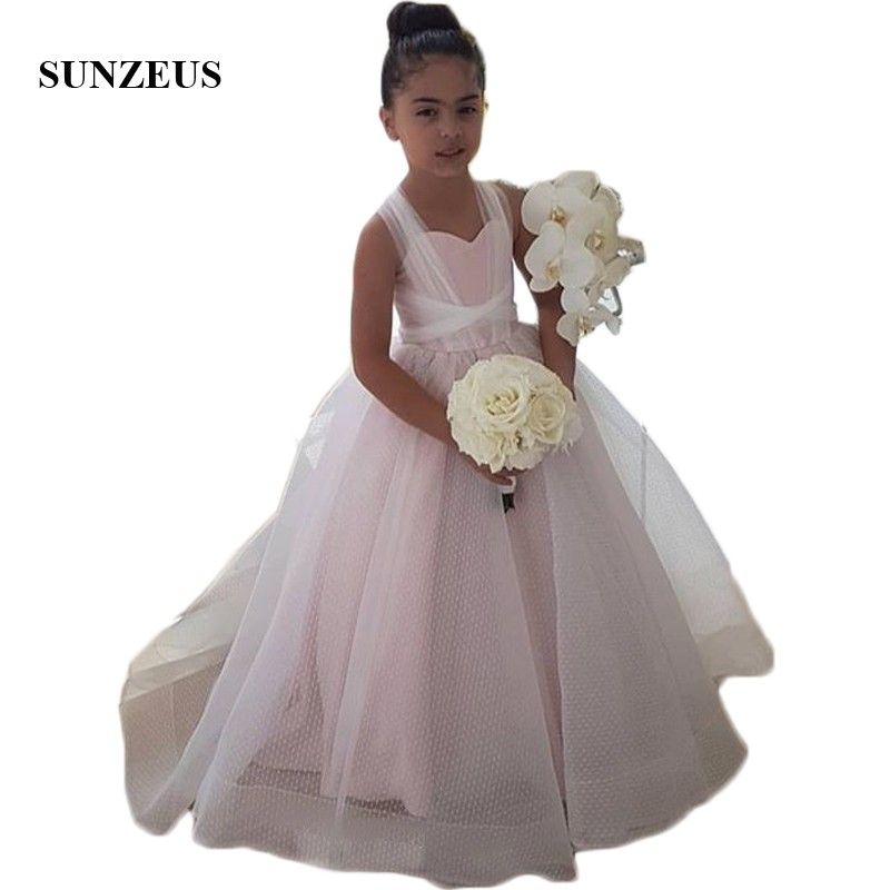 Pink Satin Fluffy A-Line   Flower     Girls     Dresses   2018 Dot Tulle Little   Girls   Pageant Party   Dresses   vestido primera comunion SF13