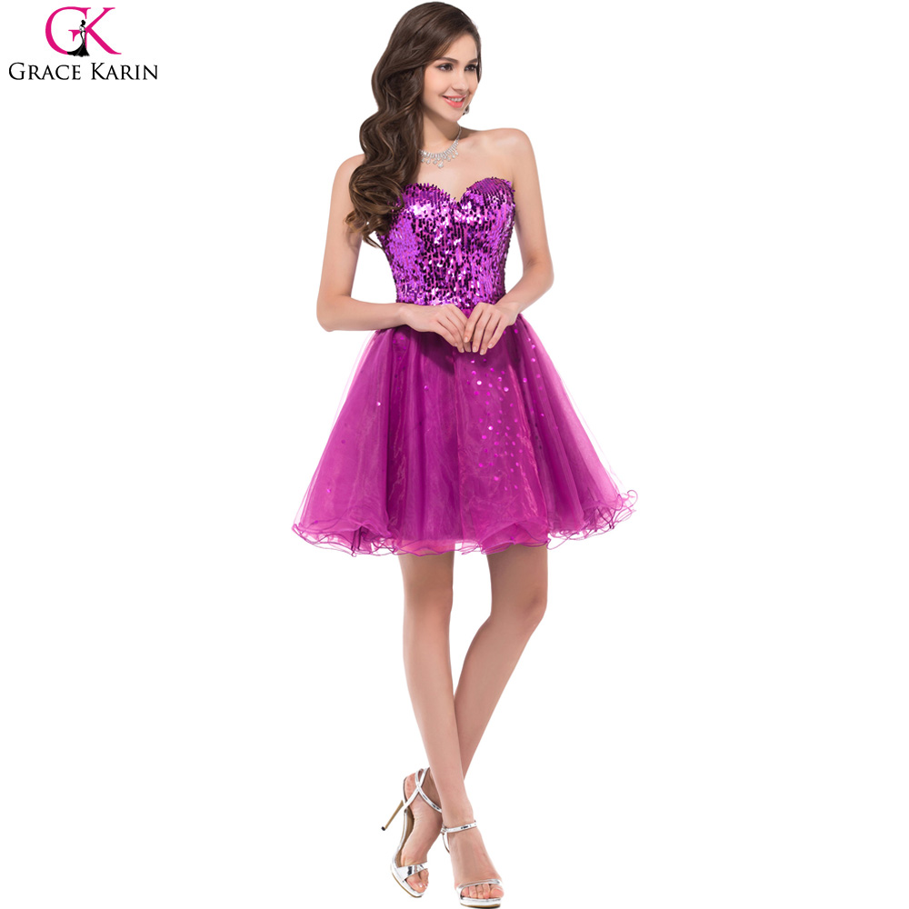 Sparkly Bridesmaid Dresses Grace Karin Purple Black Gold ...