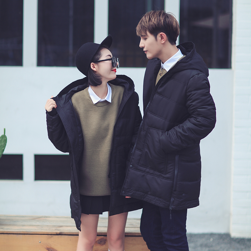 Korean youth leisure jacket winter couples dress in the long hooded men and women wear cotton