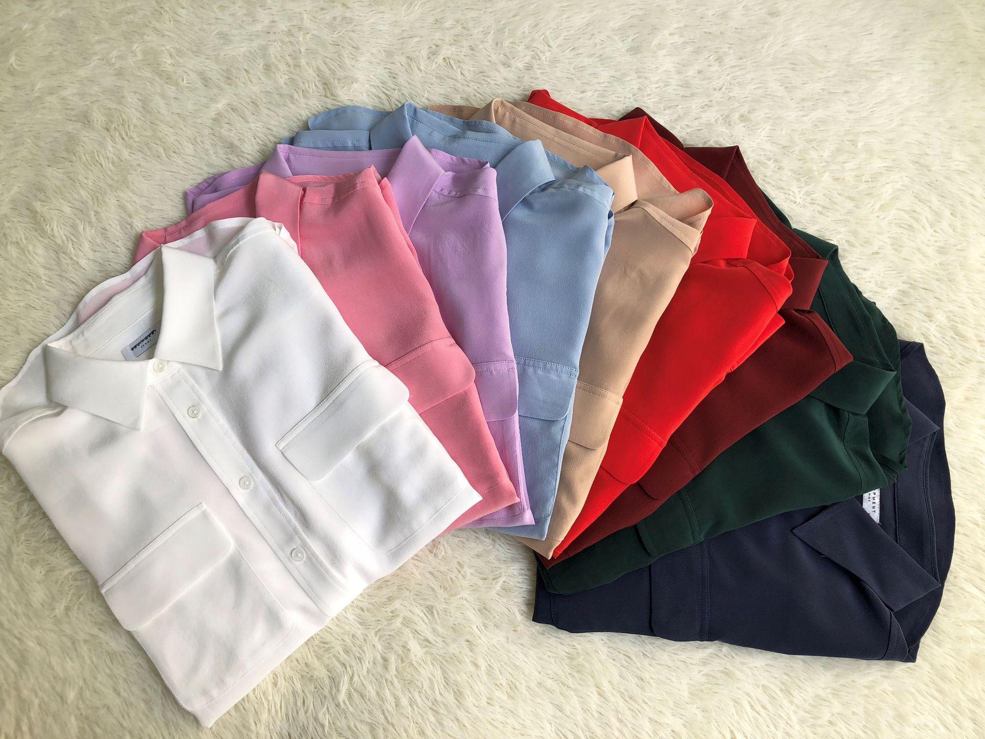 النساء قمصان 100% الحرير طويل الأكمام جيوب مزدوجة هوت فام بلوزة امرأة جديد 2019-في بلوزات وقمصان من ملابس نسائية على  مجموعة 2
