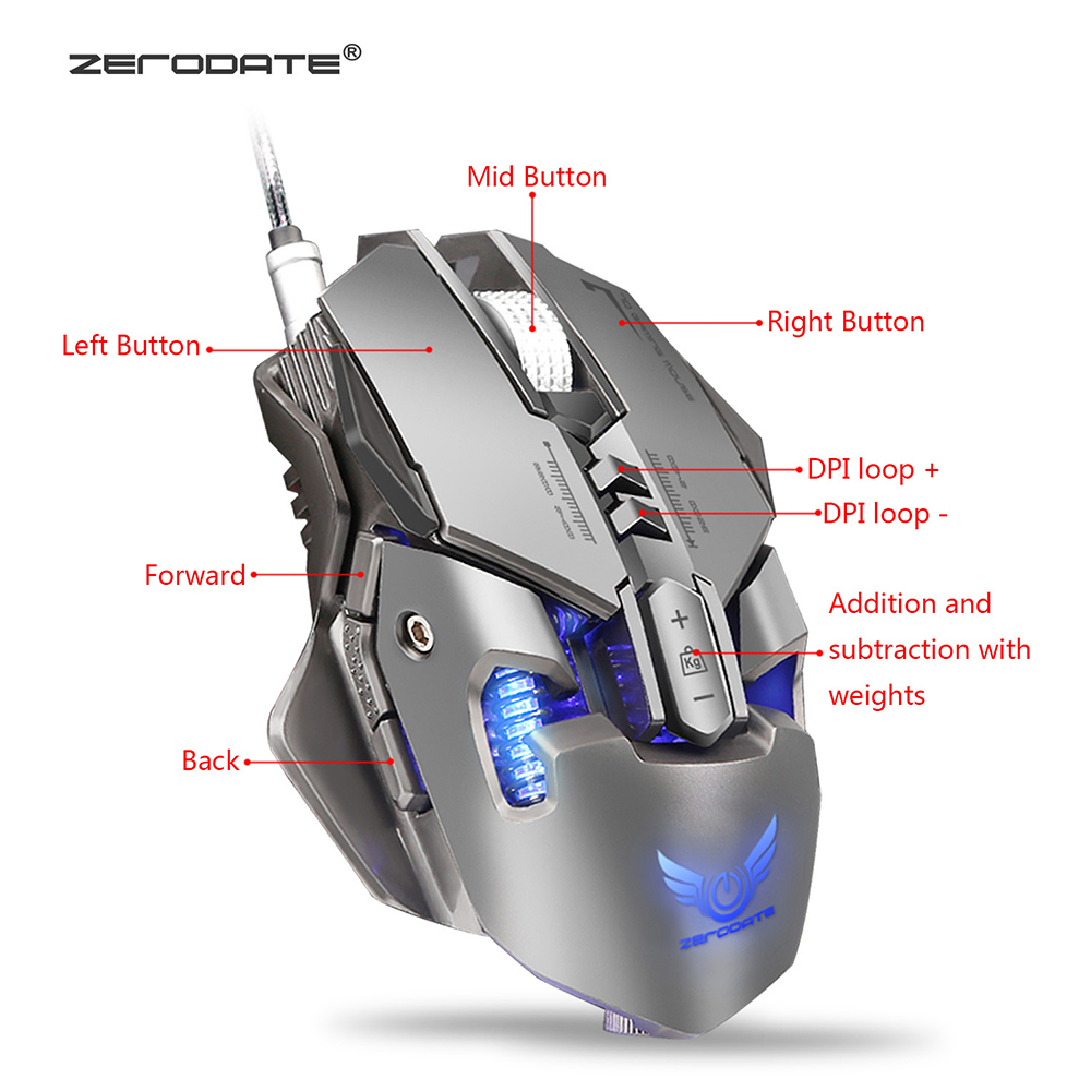 Image 2 - Zerodate X300GY Gaming Mouse 3200DPI 7 Button Programmable Mouse Gamer USB Wired Mechanical Macro Game Mouse For PC Computer-in Mice from Computer & Office