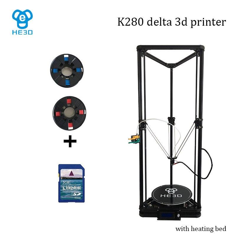 Haute précision nivellement automatique grande taille d'impression reprap delta bricolage 3d kit d'imprimante K280, avec des matériaux de support de lit de chaleur muti