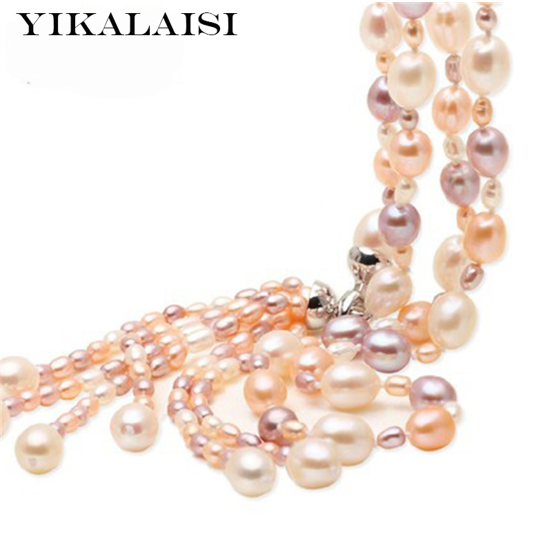 YIKALAISI 925 sterling silver jewelry Fashion Long Multilayer Pearl Necklace Freshwater Pearl Tassel Pearl jewelry For Women stylish multilayer pu leather tassel pendant necklace for women