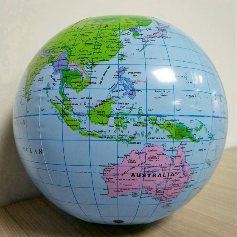 1pc 30cm Inflatable Globe World Earth Ocean Map Ball Kids Toy Geography Learning Educational Tools Office Supplies