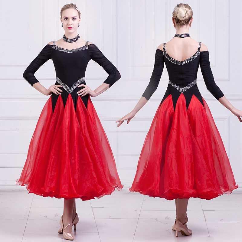 Бальное платье из гладкой ткани для женщин фокстрот танцевальное платье костюмы для танцевальных конкурсов танцевальные костюмы для румбы Дешевые Красное платье Танго Качели