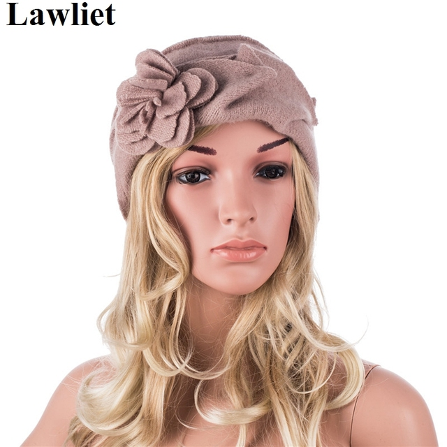 Wool Winter Hats Mink Flower Design Ruched Effect Ladies Hats New Fashion Skullies&Beanies Hats for Women Cloche Casual Cap A376