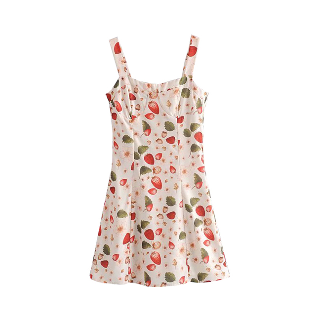 Vintage Chic Strawberry Pattern Mini Strap Dress Women Sleeveless Backless Zipper Dresses Casual Vestidos Mujer