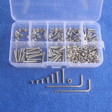 280Pcs M3 Metric countersunk falt Head Thread Stainless Steel screws Bolt Assortment kit set Fastener Hardware Hex Nuts screw 20pcs m3x25mm stainless steel flat countersunk head hexagon thread screws bolts 20pcs m3 nuts