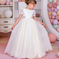 Fancy Vestidos Holy Communion Puffy Bow Lace Christmas Little Girls Long Short Sleeves Tulle Ball Gowns 2017 New 0-12 Year Old