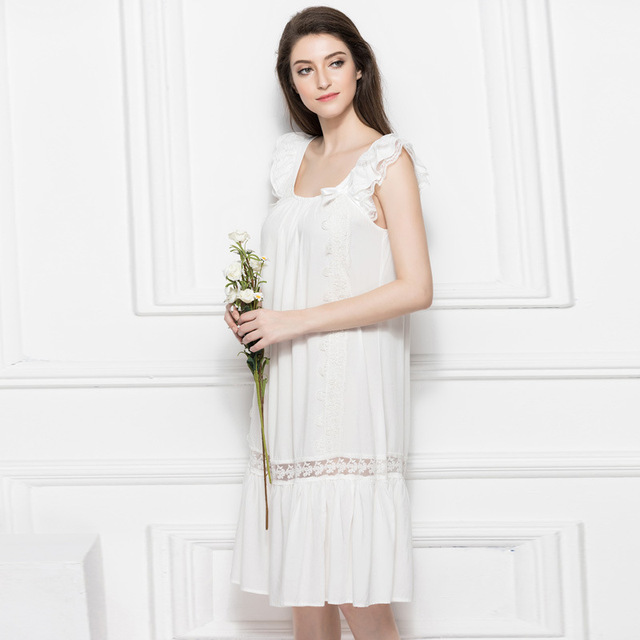 New Ruffles Nightgowns Pregnant Women Sleepshirt Strap Sleepwear 100%Cotton  Nightgown Vintage Home Dress Maternity 057eb758f