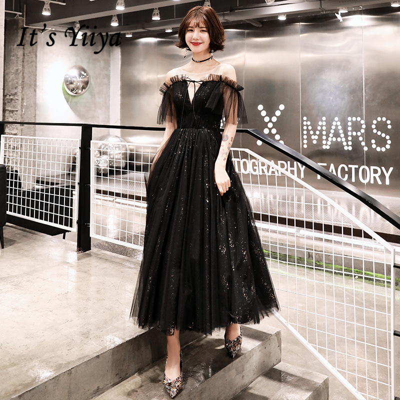 It's YiiYa   Evening     Dress   Shining Black Boat Neck Wedding Formal   Dresses   Short Sleeves A-line Fashion Party Gowns E361