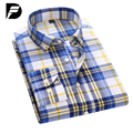 Мужские Рубашки Новая Мода Клетчатую Рубашку Мужчины Случайный Поворот Вниз Воротник рубашки Мужские Рубашки Платья Camisa Социальной Рубашка Плюс Размер S-4XL