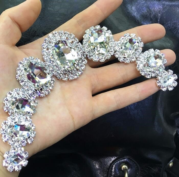 free shipping 2pcs/lot high-quality oval glass crystal rhinestone applique for bridal wedding dress decoration crafts accessorry