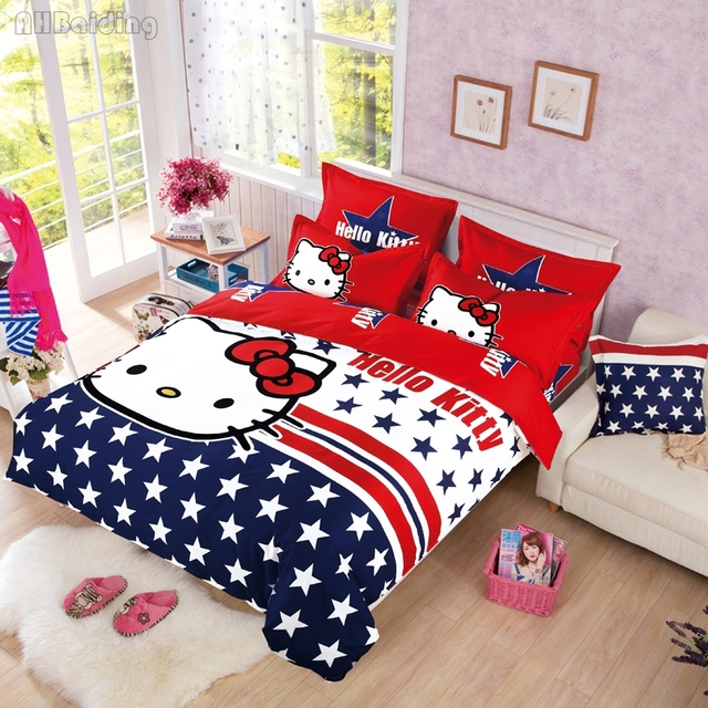 420be04bb Home Textile White Star Hello Kitty Bedding Set Kids Cotton Cartoon Pattern  Bed Linen Include Duvet Cover Bed Sheet Pillowcase