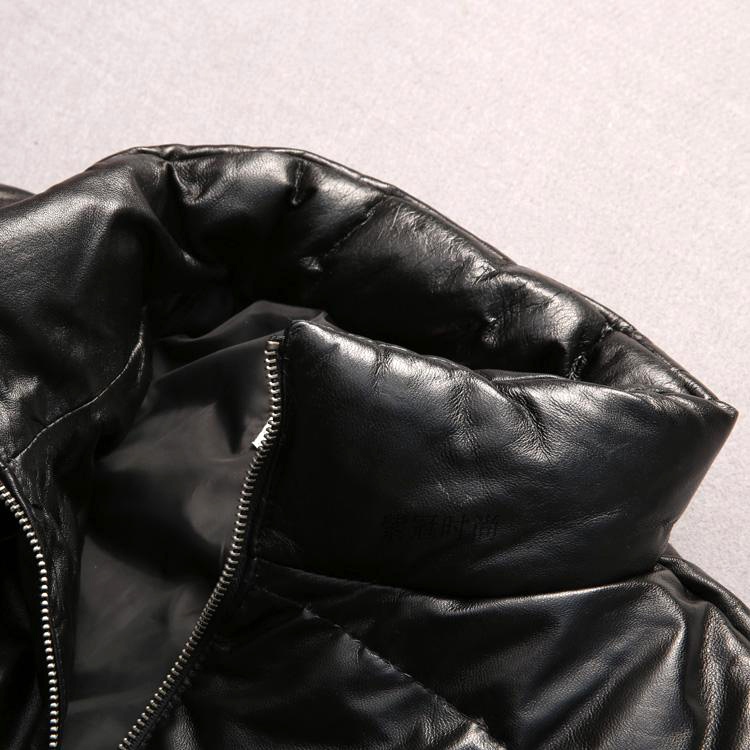 Mens Genuine Sheep Leather Down Jacket Super Warm Sheep Skin Winter Leather Jacket 6189 Excellent In Quality