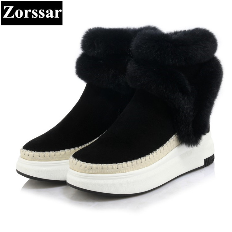 {Zorssar} 2017 NEW arrival Classic flat Women Boots Suede Ankle Snow Boots Female Warm Fur Plush women shoes winter short boots 2017 cow suede genuine leather female boots all season winter short plush to keep warm ankle boot solid snow boot bota feminina