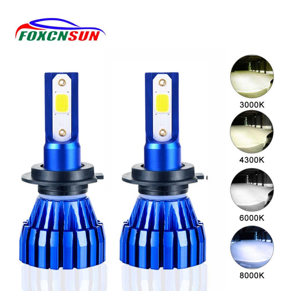 Комплект из 2 предметов, 4 цвета K2 безвентиляторный H7 светодиодный H4 автомобильных фар лампа 4300K 6500K 8000K 3000K COB Чип H1 H3 H8 H11 9005 9006 HB3 HB4 5000LM 50 Вт