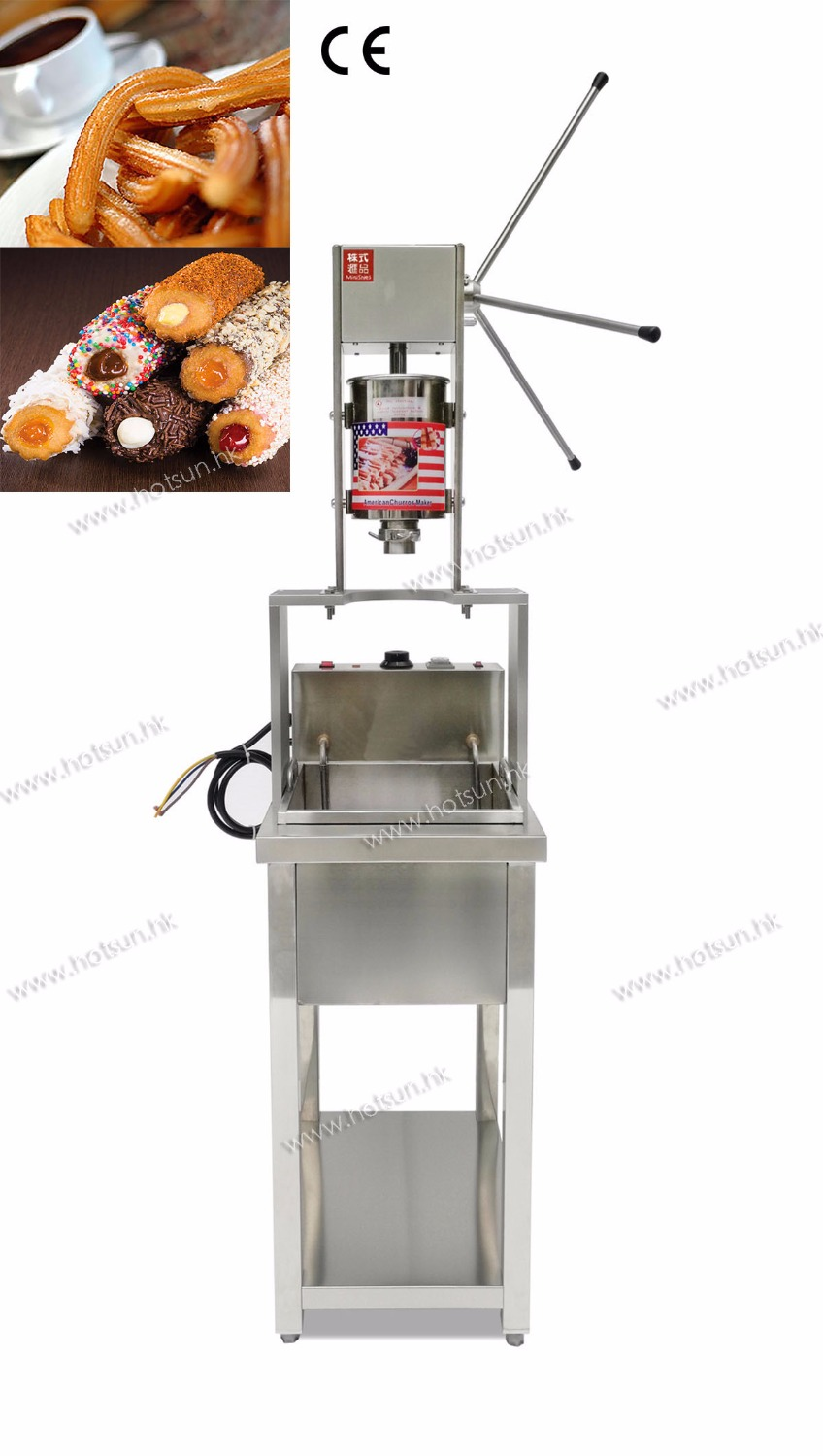 5L Professional 304 Stainless Steel Churros Maker machine with 20L Electric Deep Fryer 5l stainless steel spanish churro maker fried dough sticks machine with 6l electric fryer commercial churros machine