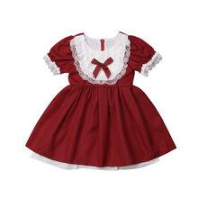 d81a07891 Niño niños bebé niñas vestido de verano de manga corta rojo arco encaje  fiesta desfile de