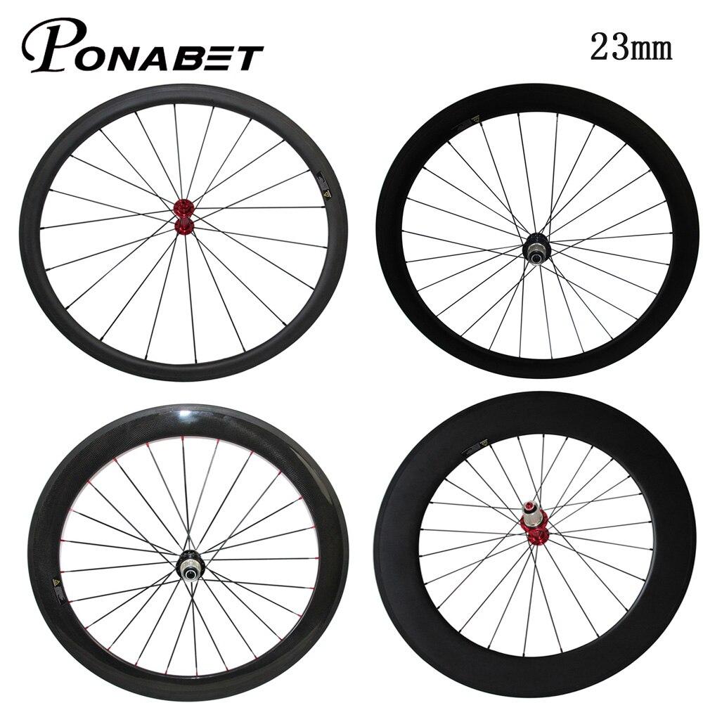Ponabet 23mm Width Ultra Light Poweway R13 Carbon Wheels 38mm 50mm 60mm 88mm Tubular Clincher Racing