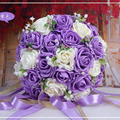 2016 Belas Flores Artesanais Rosa Artificial Decorativa Flores Pérolas Acentos Do Laço Nupcial Da Noiva Bouquets De Casamento com Fita