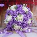 2016 Hermosas Flores Hechas A Mano Artificial Decorativo Flores Color de Rosa Detalles de Encaje de Perlas Nupcial de La Novia Ramos de Novia con La Cinta