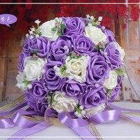 2016 Piękna Handmade Kwiaty Dekoracyjne Sztuczne Rose Kwiaty Perły Bride Bukiety Ślubne Bridal Koronka Akcenty ze Wstążką