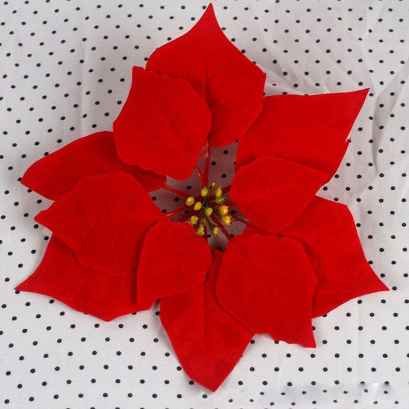 50 pcslot 20cm christmas decorative flowers artificial flowers for christmas tree flannel poinsettia flower