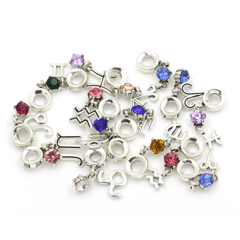 Assorted Designs Zodic and Signs DIY Pandora Crystal Charms Beads for DIY Bracelet or Pendant Making