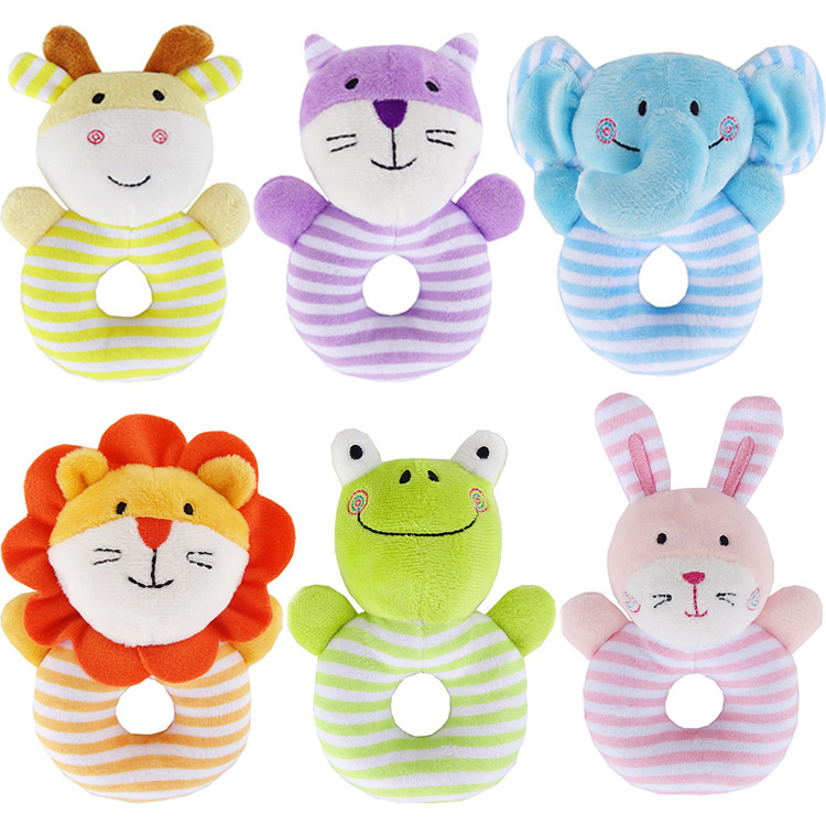 Cute Baby Cartoon Animal Plush Rattle Ring Bell Newborn Hand Grasp Toys Soft Mobile Infant Crib Baby Born Dolls