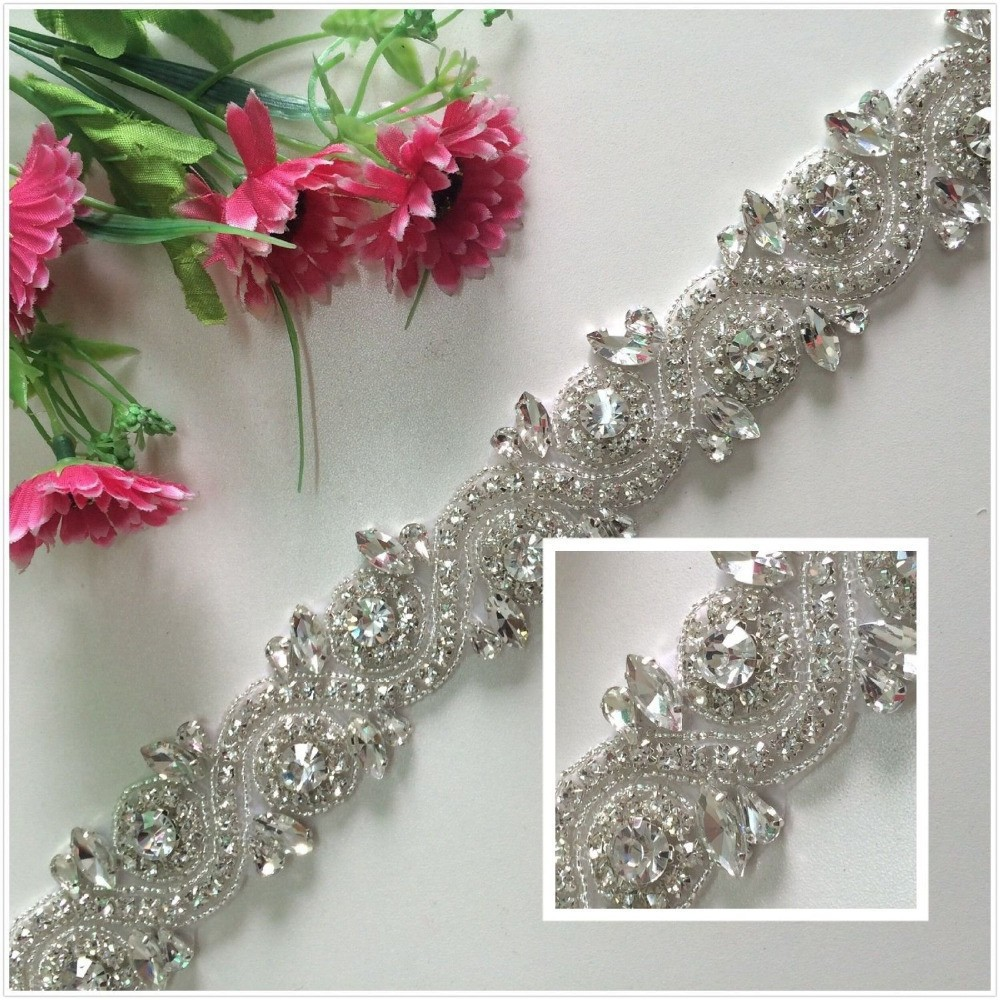 2015rhinestone decoration beaded bridal trims crystal for Applique decoration