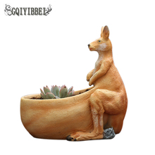 GQIYIBBEI New Kangaroo Fleshy Flower Pot Creative Resin Crafts Mini Potted Home Photography Wedding Decoration