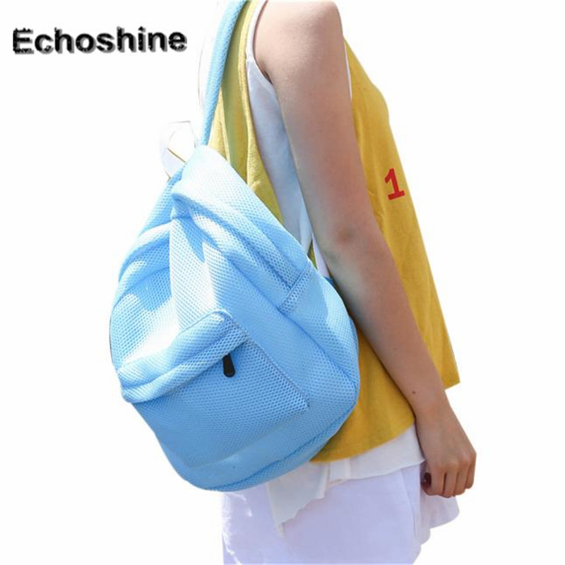 2016 hot sale Nylon zipperFashion Hollow Mesh Shoulder Bag Schoolbags travel bag gift wholesale mochila feminine A4000