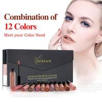 12 Colors Matte Liquid Lipstick Make Up Lip Kit Waterproof Long Lasting Lipstick Gloss Pigment Dark