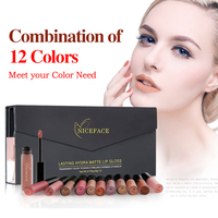 12 Colors Matte Liquid Lipstick Make Up Lip Kit Waterproof Long Lasting Lipstick Gloss Pigment Dark
