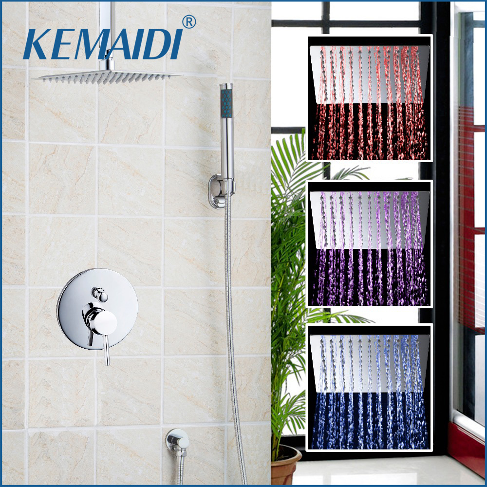 KEMAIDI LED Luxury NEW Antique Brass Rainfall Shower Set Faucet + Tub Mixer Tap + Handheld Shower Wall Mounted 54100-2 micoe brass thermostatic water rainfall shower set faucet tub mixer tap handheld shower wall mounted bathroom m a1014 1d
