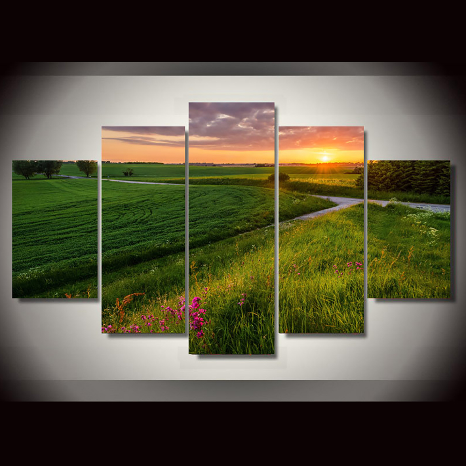 HD Printed Paintings Decor Tableau Wall Art Modular 5 Panel Sunrise Prairie Fields Scenery Modern Posters Home Pictures Canvas