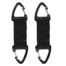 цены на 2 Pieces Black Nylon Webbing Strap Belt with Double Ended Triangular Hook for Outdoor Hiking Backpack Hanging Accessories  в интернет-магазинах
