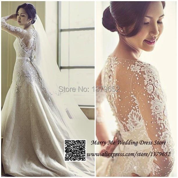 Graceful ivory boat neck lace wedding dresses long sleeve for Boat neck long sleeve wedding dress