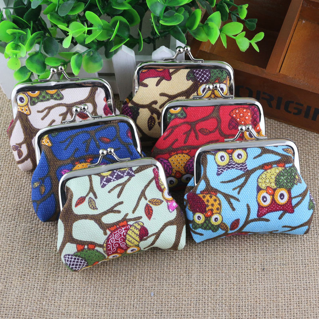 Canvas Owl Cartoon Children Coin Purses Wallet Handbag Card Holder Key Bag Money Bags For Girls Ladies Purse Kids Children