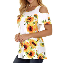 Cotton Short Sleeve O-neck Floral Print Tops Women T-shirt Summer Casual Tee Women Fashion Loose Off Shoulder Tops T-shirt H30 2019 casual sexy summer women t shirt floral print cold shoulder long lantern sleeve t shirt halter neck cold shoulder tee tops