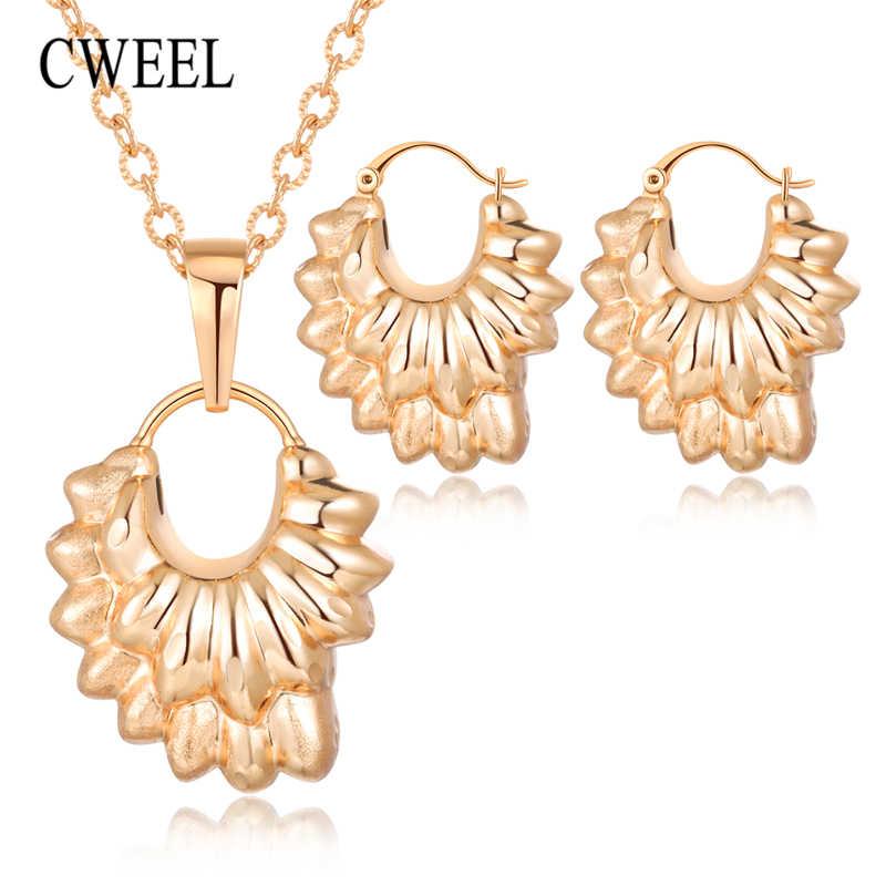 CWEEL Schmuck Sets Für Frauen Afrikanische Perlen Schmuck Set Gold Kostüm Dubai Luxus Braut Aussage Vintage Halskette Set