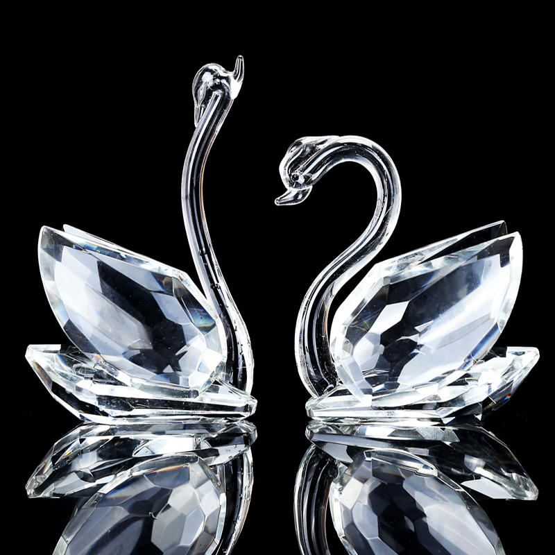 Handmade 1 Pair Crystal Swan Crafts Paperweight Lovely Ornaments Home Decor Figurines Wedding Valentine 39 s Day Gifts Souvenirs in Figurines amp Miniatures from Home amp Garden