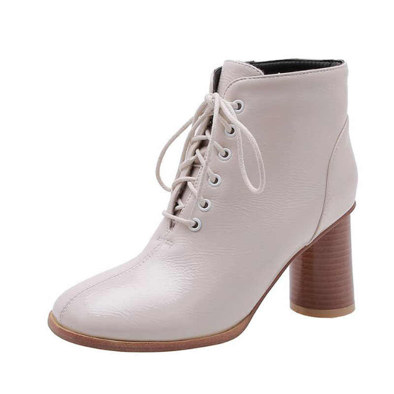 2020 frauen Stiefel Herbst Patent Leder Lace Up Plus Größe 46 47 48 Damen Mode Martin Schuhe Weibliche Oxfords chunky Ferse Schuhe