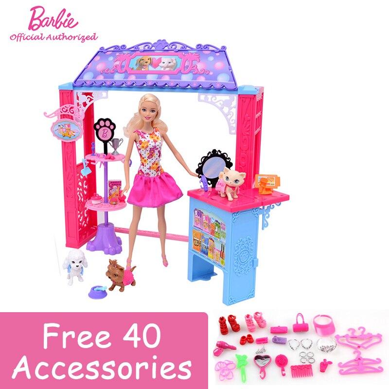 Free Shipping Original Barbie Friend House Little Pet Store Cute Rome Baby Girl Barbie Boneca Set Mode BDF49 For Gift цена