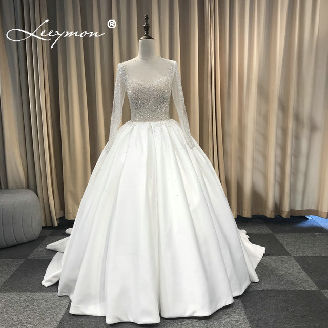 Luxury Ivory Top Beaded Satin Wedding Dresses Ball Gown Stones 2019 Wedding Dress Chapel Train Bridal Gowns New