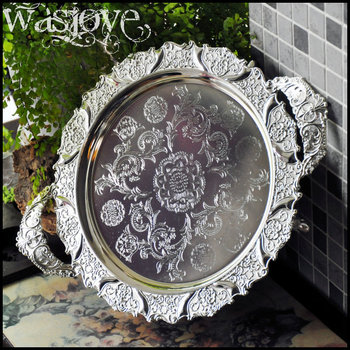 42cm round silver embossed metal serving tray storage tray with handle for fruit hotel restaurant home decoration SG070