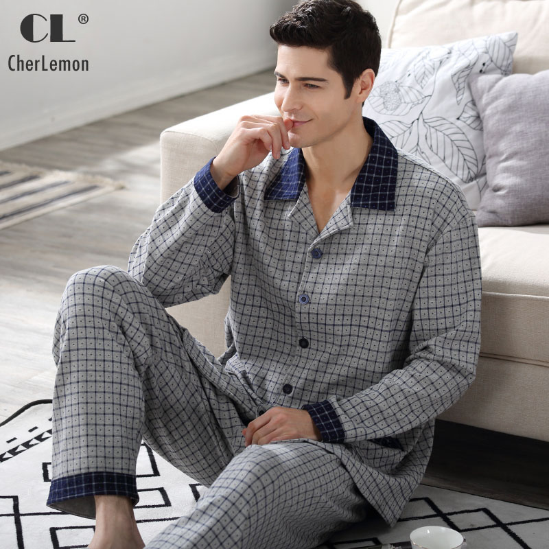 CherLemon Autumn Mens 100% Woven Cotton Pajamas Casual Plaid Long Sleeve Button Up Sleepwear Male Classic Homewear Large Size