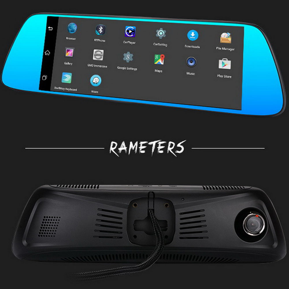 7 inch Android 5.0 Car DVR Full HD 1080P rear view mirror dual lens Dash Cam 3G Wifi GPS Bluetooth FM Camera Video Recorder