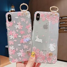 IMIDO Floral Anti-fall Lanyard Loop Stand Phone Cases Transparenet Wrist Strap TPU Soft Silicone For iphone 6/7/8/X